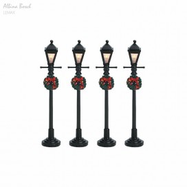 "LEMAX 4"" GAS LANTERN STREET LAMP, SET OF 4"