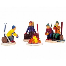 SKIER'S CAMP FIRE SET OF 4