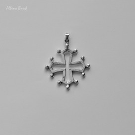 """Colgante """"Cruz Occitana"""" de plata (5,6 x 4,4cm)"""