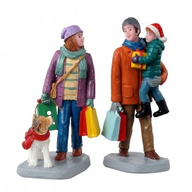 HOLIDAY SHOPPERS . SET OF 2